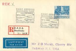 Sweden First Swedish Transatlantic Flight Stockholm To New York 27/6 1945 Par Avion Recommended - Airmail