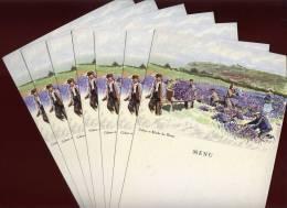 Lot De 7 Menus Cartes Postales La Bénédictine à Fécamp Culture Et Récolte Des Plantes Illustrateur Albert Brenet  RAM - Menus
