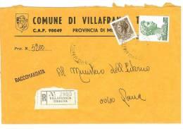 VILLAFRANCA TIRRENA  98049  PROV. MESSINA  - ANNO 1980  - R  - STORIA POSTALE DEI COMUNI D´ITALIA - POSTAL HISTORY - Affrancature Meccaniche Rosse (EMA)