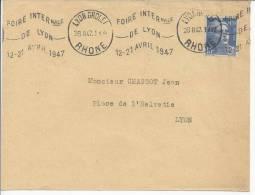 RHONE- 1945 -   N° 718 A  SUR LETTRE DE LYON POUR LYON - - Poststempel (Briefe)