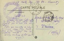 CACHET HOPITAL PROVISOIRE CLERMONT FERRANT   LE VAGMESTRE  GARDEUSE DE VACHES - Marcophilie (Lettres)