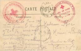 CACHET MILITAIRE HOPITAL     CROIX ROUGE  ANGERS - Marcophilie (Lettres)