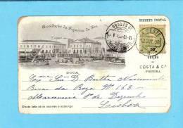 FIGUEIRA DA FOZ / PORTUGAL. POSTAL TIPO GRUSS / RECORDAÇÃO.Doca Animado. Circulado 1898 Old Portuguese Postcard - Coimbra