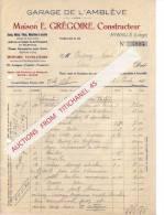 Facture 1922 - AYWAILLE - E.GREGOIRE Garage De L'Amblève - Autos, Motos, Machines à Coudre, Armes Et Munitions - Non Classés