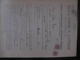 1925 - TRENTO - SOCIETA' TRENTINA DI ELETTRICITA' - POLIZZA ABBONAMENTO ENERGIA ELETTRICA CON MARCHE DA BOLLO - Documenti Storici