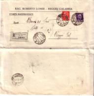 LOTTO LOT Stampe Raccomandata Reggio Calabria X Città Imperiale Centesimi 20 + 50 - Marcophilie