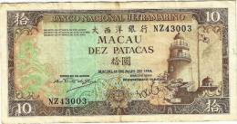 MACAO - Banco Nacional Ultramarino 10 Patacas 1984 VF - Macao
