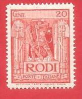 ITALIA COLONIE NUOVO - 1932 - EGEO - RODI - Pittorica Con Filigrana Corona - DENT. 14 - Cent. 20 - S. 58 - Aegean (Rodi)