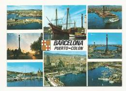 Cp, Espagne, Barcelona, Puerto-Colon, Multi-Vues - Barcelona