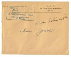 Sur Lettre Cachet Plessis -Robinson Ecole Primaire De Filles - Collections