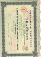 1923 -  FRANCIA - AZIONE DELLA COMPAGNIE NOUVELLE DE TRACTION - AZIONE DI 250 FRANCHI AL PORTATORE CON  CEDOLE - Spoorwegen En Trams