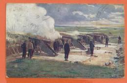 Q073, En Guerre, Une Batterie De 130 M/M, Série B No.2, Circulée 1915 , Timbre Suisse , Schweiz, Tampon Biel - Militaria