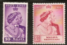 Malaya Malaysia 1948 Set Silver Wedding Trengganu Very Lightly Mounted Mint - Malaysia (1964-...)