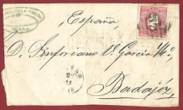 PORTUGAL-SPAIN - ELVAS-BADAJOZ - 1895 COVER - 1862-1884 : D.Luiz I