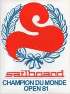 Autocollant Sport Planche à Voile - Sailboard Champion Du Monde Open 81 - Autocollants