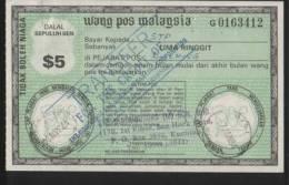 MALAYSIA 1984 POSTAL ORDER $5 USED AND PAID IN SARAWAK - Malaysia