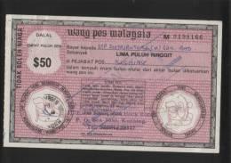 MALAYSIA 1984 POSTAL ORDER $50 USED AND PAID IN SARAWAK - Malaysie