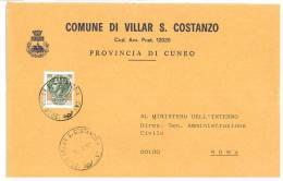 VILLAR SAN COSTANZO  12020  PROV. CUNEO  -  ANNO 1980  - LS  - STORIA POSTALE DEI COMUNI D´ITALIA - POSTAL HISTORY - Affrancature Meccaniche Rosse (EMA)