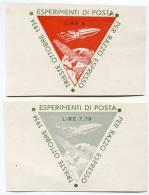 SERIE COMPLETA ERINNOFILI ESPERIMENTI DI POSTA RAZZO TRIESTE ANNO 1934 - Erinnophilie