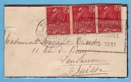Exposition Coloniale Et Internationale Paris 1931 /Lausanne /N° 272  Petite Lettre Et Oblitération Adéquate - France