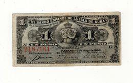B.ESPAÑOL ISLA CUBA 1 PESO 1896 Banknote - Cuba