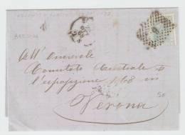 Lettera   Brescia – Verona 1868  Annullo Numerale A Punti N. 6 - 1861-78 Vittorio Emanuele II