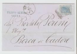 Lettera  Lucca - Borca Di Cadore 1875   Annullo Numerale A Punti N.  15 - Storia Postale
