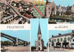 Cpsm VILLENEUVE Sur ALLIER, Multivues Château, Pont, Hôtel, Vue Aérienne, Armoiries (14.11) - France