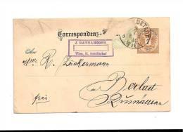 CPA - 08/06/1886  -  J.  NATHANSOHN   -  Mme  ZNOKERMANN   BERLAD - 1850-1918 Empire