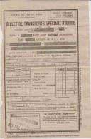 Ticket De Train.  BILLET DE TRANSPORT SPECIAUX - ARAS à DOUAI.  19-9-1934 - Europe