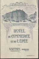 Feuillet Publicitaire:  VANNES.  Hotel  Du Commerce Et De L'Epée.   7 Mai 1947. - Publicités