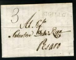 DC15-1821 Lettera Contenuto GUBBIO-PESARO-via SIGILLO-timbro LINEARE Partenza+tassata  A MANO Per 3 BAJ - 1. ...-1850 Prephilately