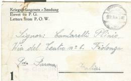 CARTOLINA POSTALE  PRIGIONIERI DI GUERRA  DA  GERMANIA, STALAG VI F - VIAGGIATA  1944, X  FIDENZA - Bagne & Bagnards