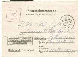 PRIGIONIERI DI GUERRA,  BIGLIETTO POSTALE CON TESTO, DA GERMANIA LAGERIV B, VIAGGIATO 1943 X MACERATA, TIMBRO TONDO MUTO - Bagne & Bagnards