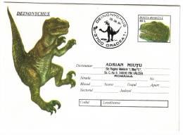 Animal Prehistoric ( 37 ) - DEINONYCHUS - 1 Stationery + Special Cancellation - 1994 - Briefmarken