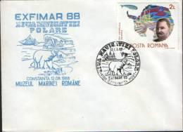 Romania-Enveleope Occasionally 1988-Day Polar Navigation(polar Bear; Ours Polaire;Polarbär) - Polarmarken