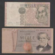ITALY, 2pic.. 1000 Lire ,1969 & 1982,No´ 101 & 109 ,Pr.. - [ 2] 1946-… : Républic