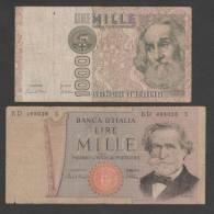 ITALY, 2pic.. 1000 Lire ,1969 & 1982,No´ 101 & 109 ,G.. - [ 2] 1946-… : Républic