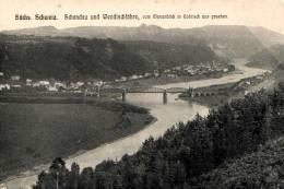 Sächs Schweiz. Schandau Und Wendischfähre Com Marienblick In Gohrisch Aus Gesehen (Brücke) - Bad Schandau