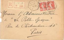 1638 NICE B  Lettre Recommandée Semeuse Yv 160 30 C Rouge X 2 Recette Auxiliaire Urbaine Lautier D4 Tarif 1 4 1920 - Postmark Collection (Covers)