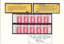Cote 350 € - Marianne BRIAT - 2614 C3a - Carnet (Maury 476a)  Variété Piquage à Cheval - SUP¨¨ - 1989-96 Bicentenial Marianne