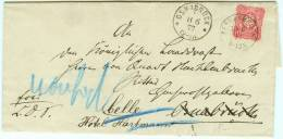 1877 Bersenbrückfarbintensive Nr. 33 Brief Nach Osnabrück Dann Celle Rs. Nachverw. Hannover K2 CELLE - Deutschland