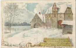 5149 - Hiver - Eté  Winter -Sommer En Transparence 2 Chevaux  Tirant Un Char De Foin En 1900 - Contre La Lumière
