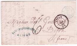1865- Lettre En Port Du De LIEGE - Taxe Tampon 6 Entrée BELG 2 ERQUELINES 2 Bleu Pour Dijon - 1865-1866 Profile Left