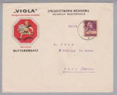 """Motiv Ernährung Lebensmittel Margarine """"Viola"""" Wädenswil 1920-10-30 Illustr. Brief - Alimentation"""