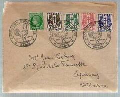 France Lettre Exposition Aviculture Paris 31-03-1945 - Tp Chaînes Brisées Série 670 671 672 673 & Cérès 675 - Coq Poule - Postmark Collection (Covers)