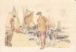 CPSM DEBARQUEMENT POISSON PECHE DESSIN REMY BOURTES ? - Fishing