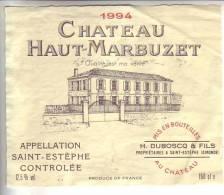 CHATEAU HAUT-MARBUZET  / Saint-Estèphe  Controlée  1994  150 Cl. - Bordeaux