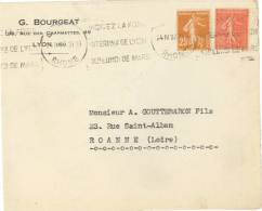 1178 LYON Krag Foire Internationale Dreyfus LYO156 24 4 32 Semeuse 25c Jaune-brun 235  50c Rouge 199 - Poststempel (Briefe)