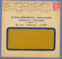 1442 Lettre Ob KRAG Lyon Grolée Foire De Lyon 3 12 Avril 1948 Gandon 6F Rose Carmin N°721A Dreyfus LYO515 - Postmark Collection (Covers)